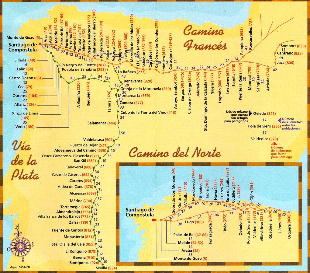 el camino térkép Szent Jakab út, El Camino   Tippek, tanácsok | Spanyolország el camino térkép